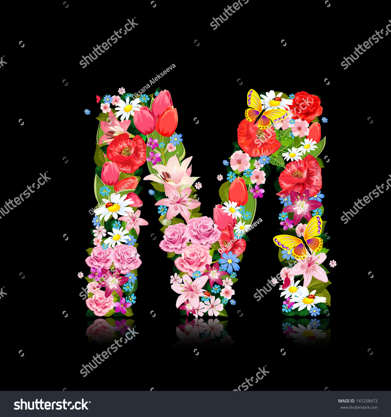 Romantic Letter Beautiful Flowers M Stock Vector Royalty Free