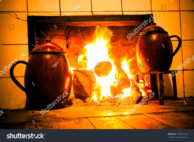 chimney kitchen hearth burning rural house stock photo 147261125