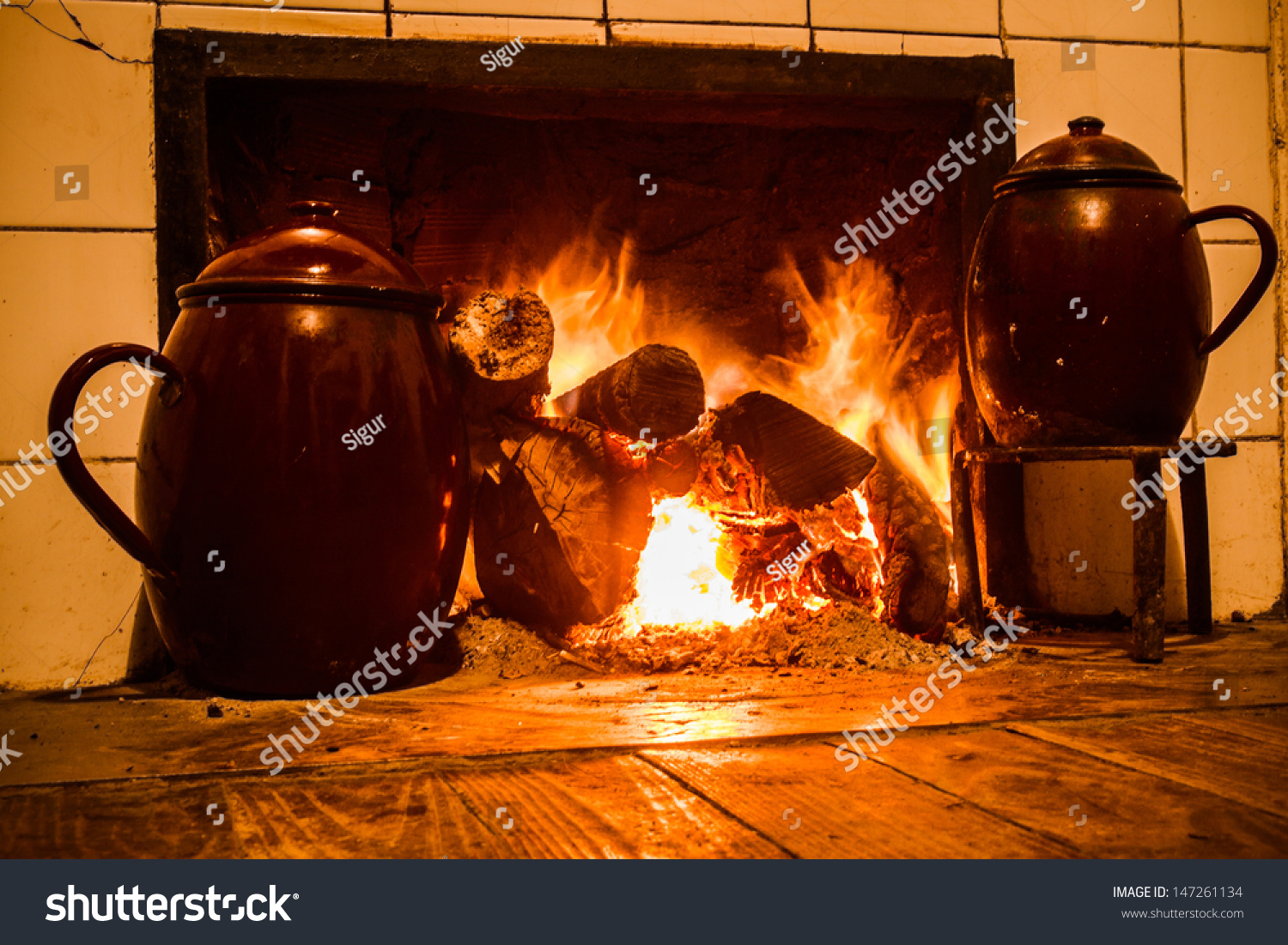 Kitchen Fireplace For Cooking Royalty Free Chimney Kitchen Hearth Of Burning 147261134 Stock