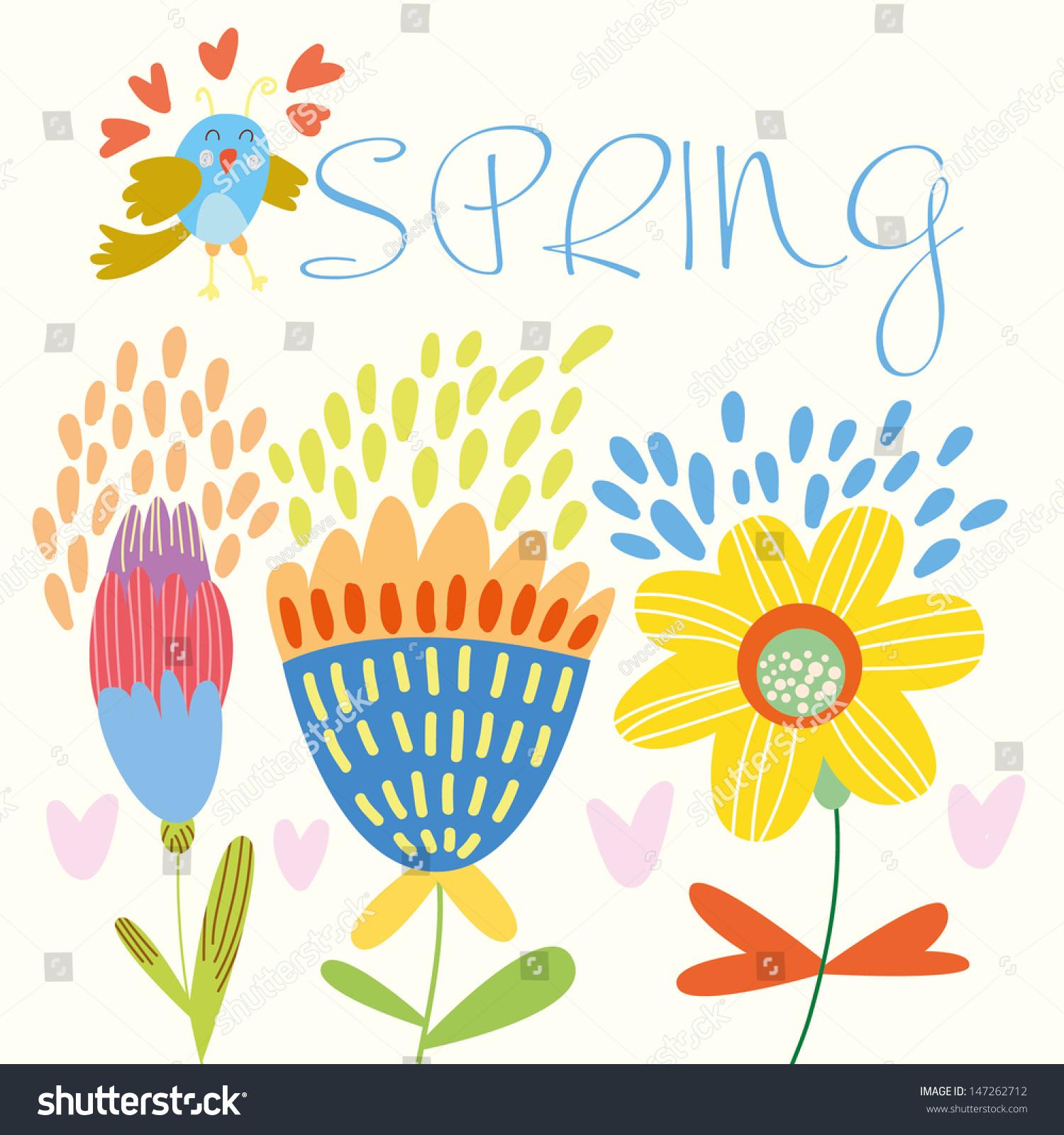 Spring Flowers Birds Cartoon Floral Background Stock Vector Royalty
