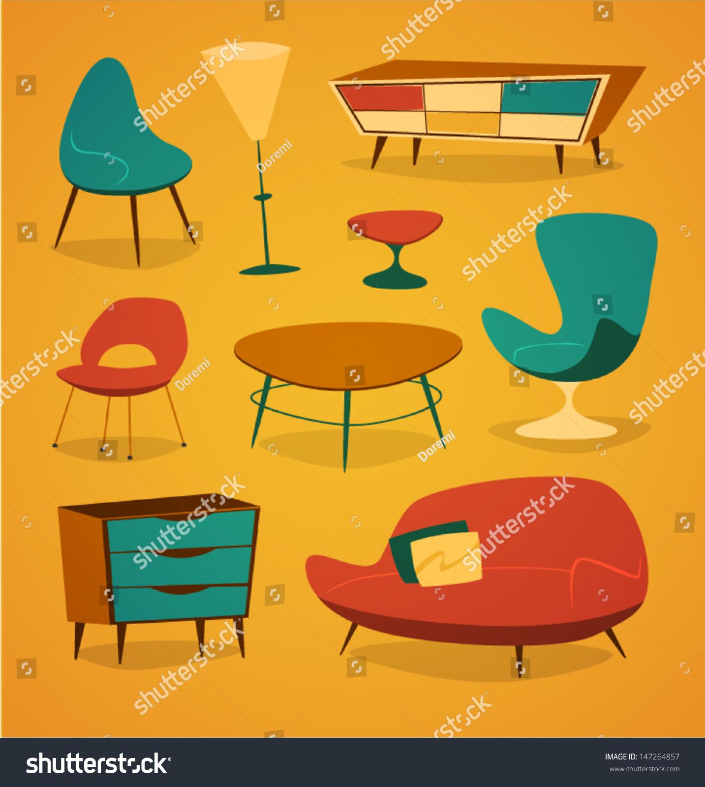 Retro Styled Modern Furniture Household Series Stock Vector 147264857    Shutterstock