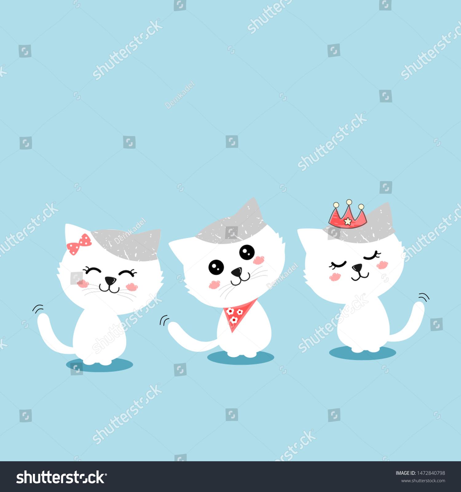 Three White Cat Cute Face Beautiful Stock Vector Royalty Free 1472840798