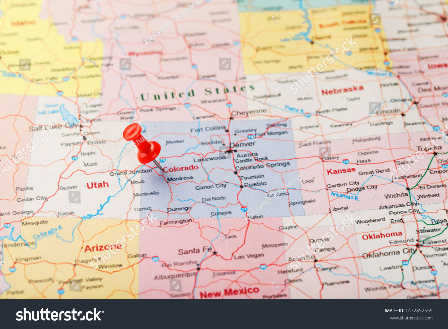 denver colorado on map of us Red Clerical Needle On Map Usa Stock Photo Edit Now 1472852555 denver colorado on map of us