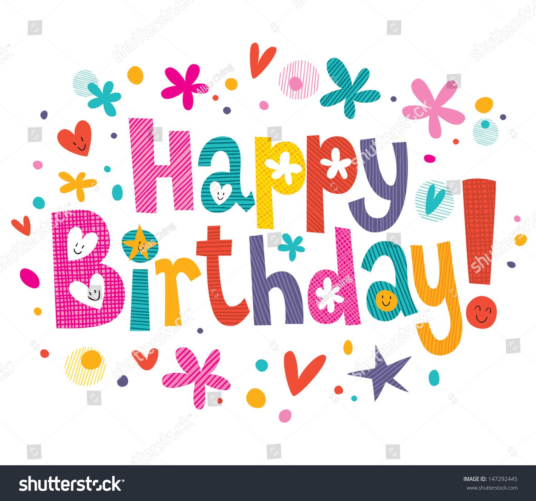 Happy Birthday Text Stock Vektorgrafik Lizenzfrei 147292445