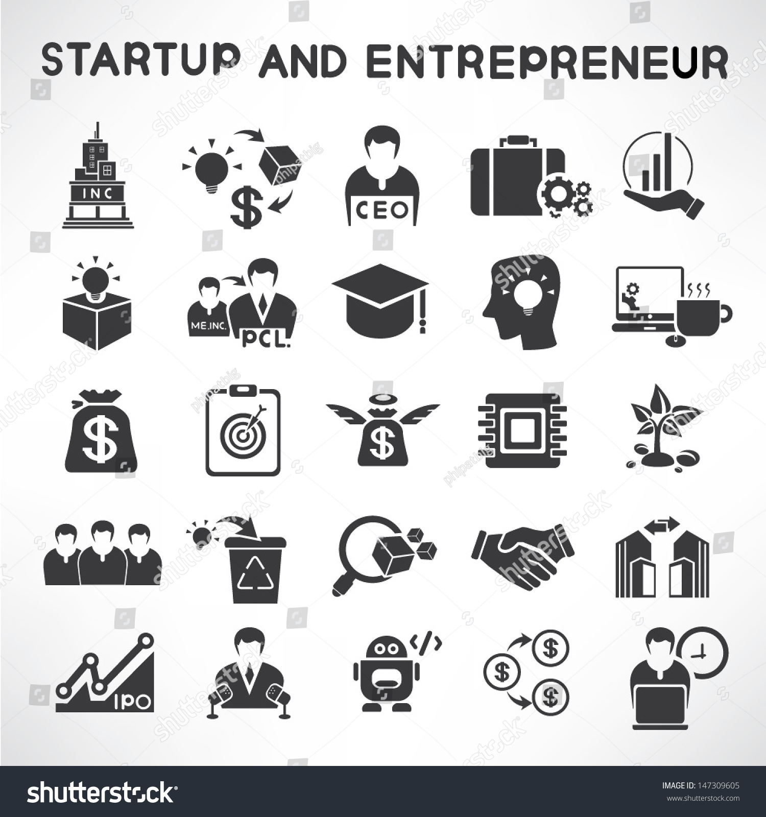 start up business and entrepreneur icons set stock vector