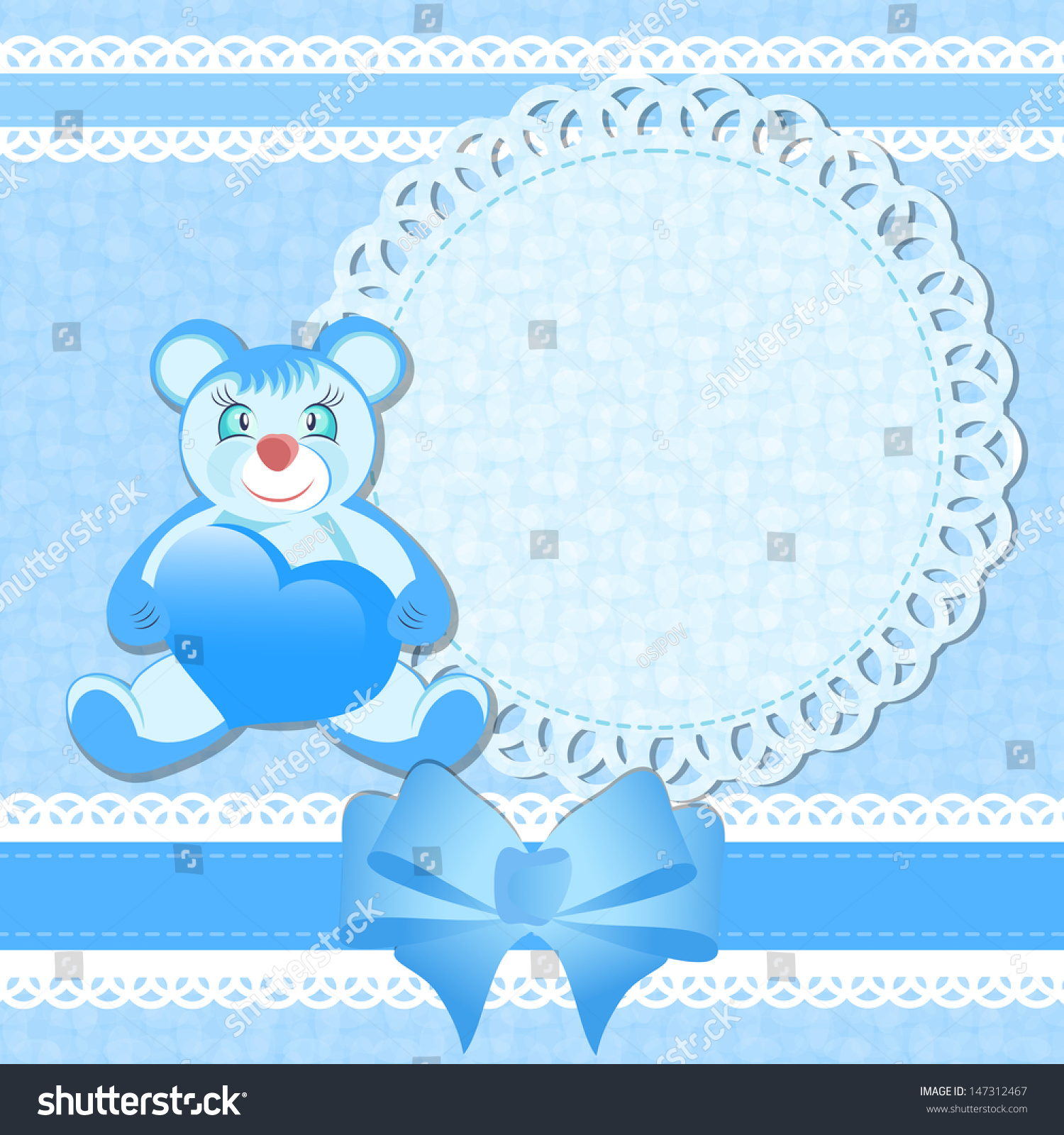Baby Shower Greeting Card Baby Boy Stock Illustration 147312467
