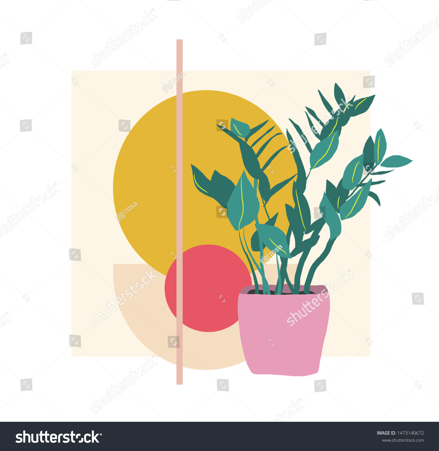 Plant Illustration Potted House Plant Vector Stock Vector Royalty Free 1473140672
