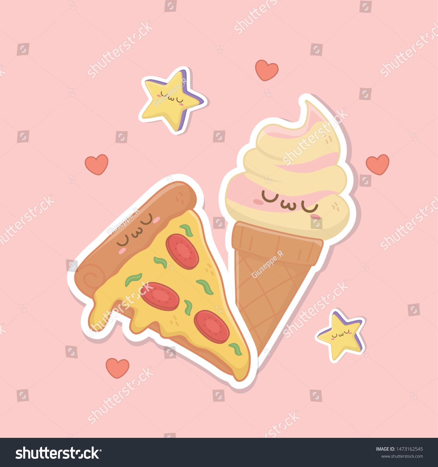 Ice Cream Cone Pizza Kawaii Characters Stock Vector Royalty