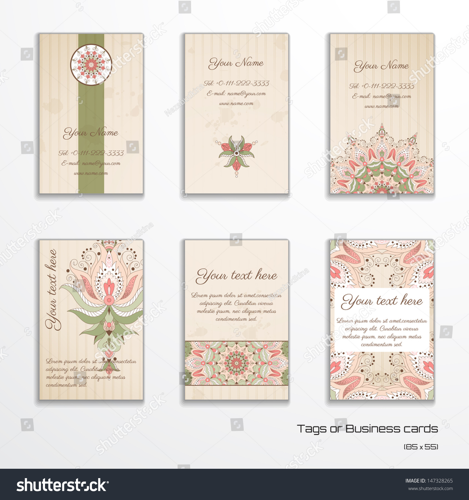 Set Six Vertical Business Cards Tags Stock Vector 147328265 ...