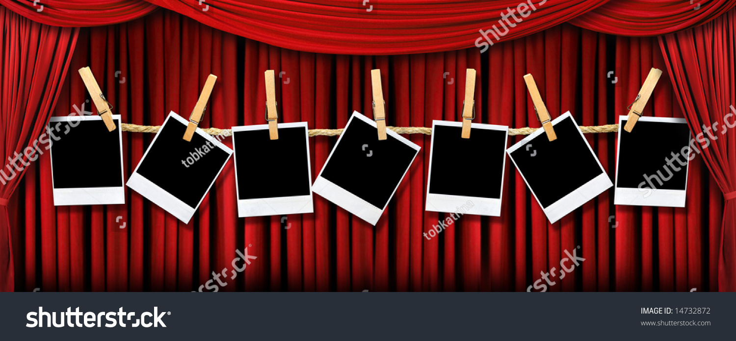 Stock photo dramatic red old fashioned elegant theater stage stock - Red Draped Theater Stage Curtains With Light And Shadows With Blank Instant Photos