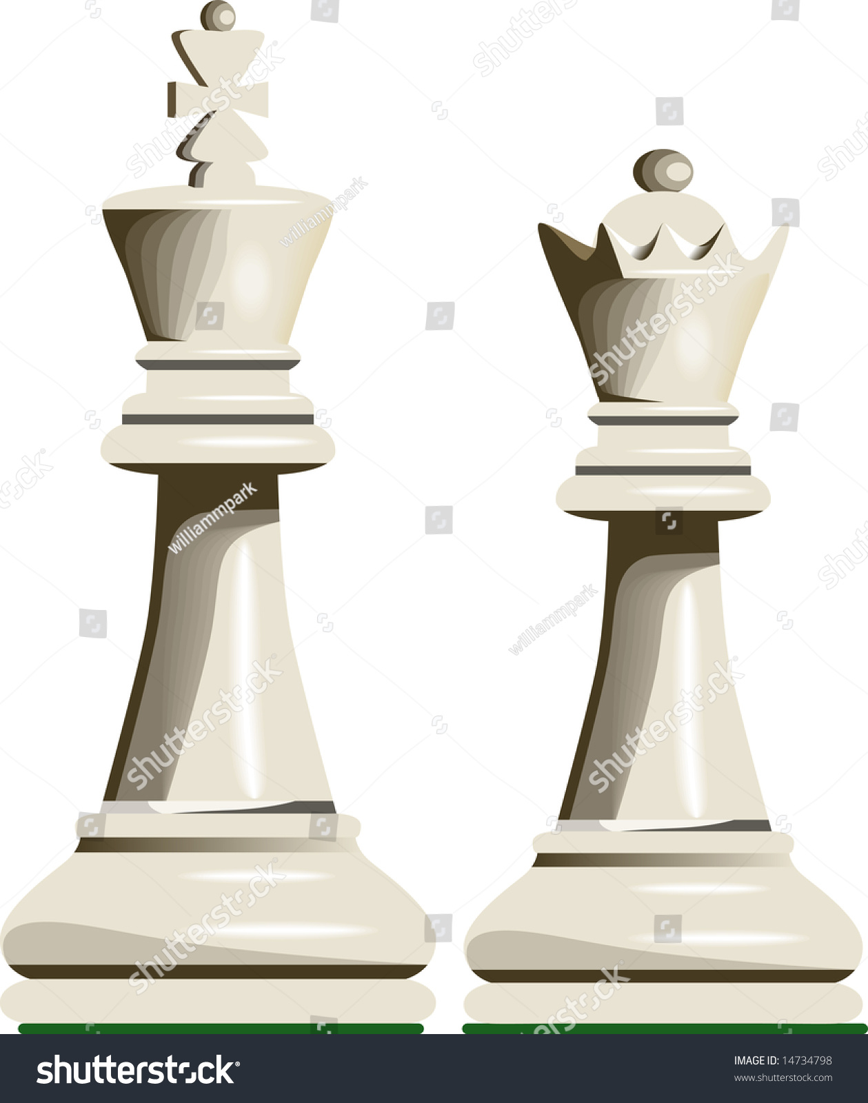 White King Queen Chess Pieces Stock Vector 14734798 ...