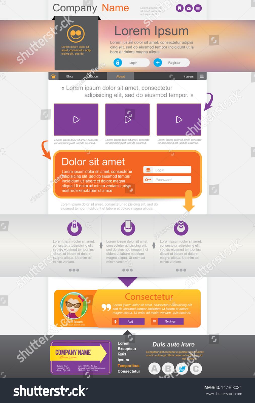 Website Design Homepage Template Vector Illustration Stock ...