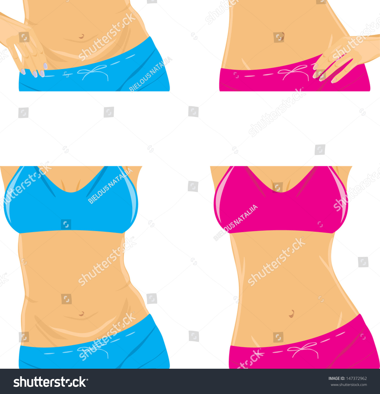 Belly Slim Waist Female Body Parts Stock Vector Royalty Free