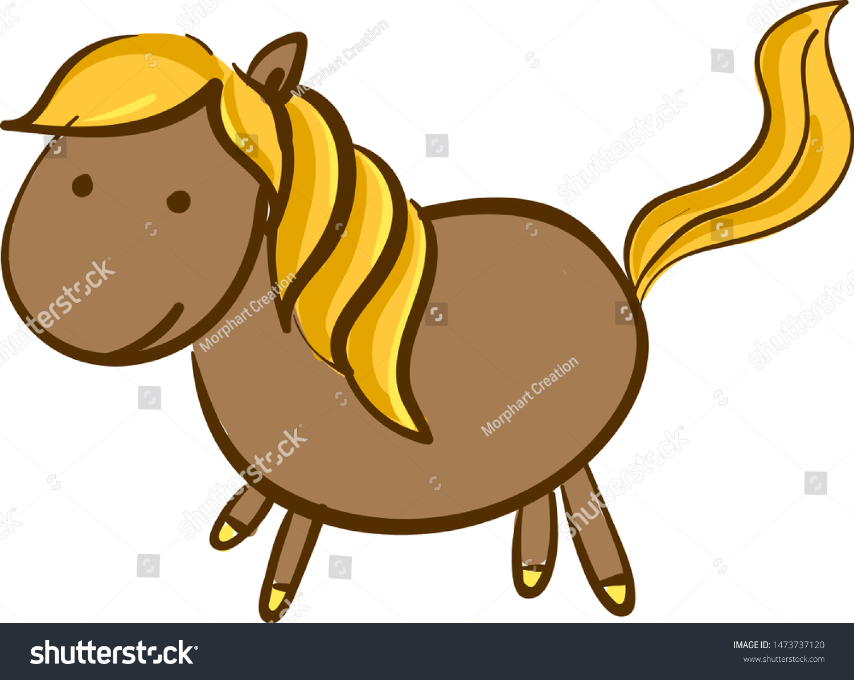 Vector De Stock Libre De Regalias Sobre Cartoon Funny Looking Brown Horse Gold1473737120