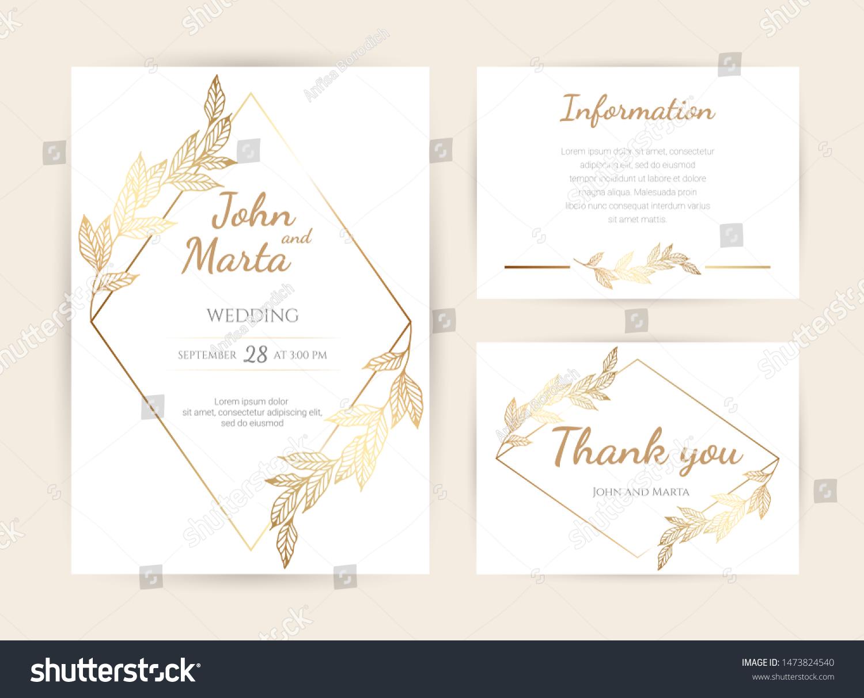 Luxury Wedding Invitation Cards Gold Geometric Royalty