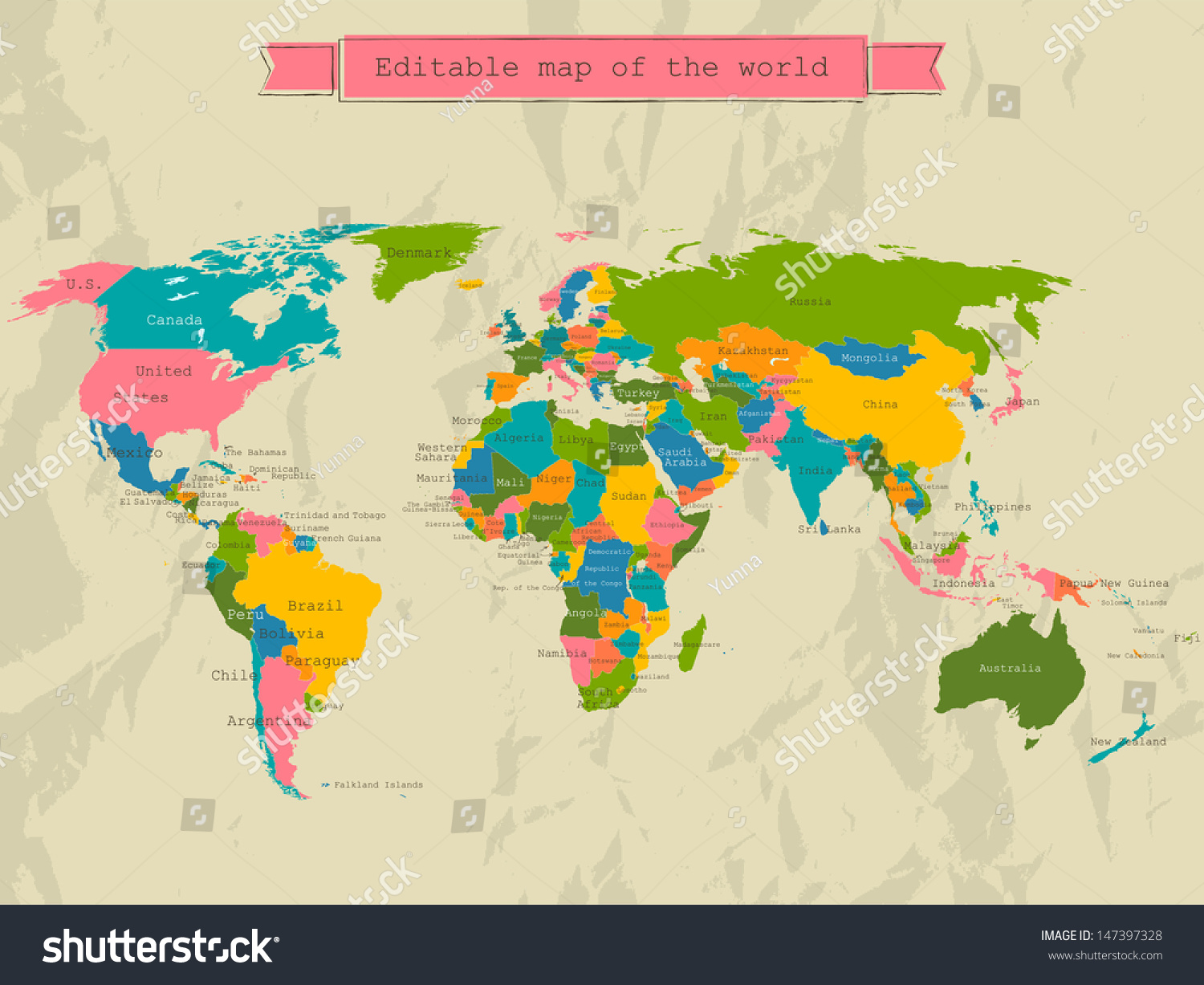 Editable World Map All Countries Vector Stock Vector 147397328 Shutterstock