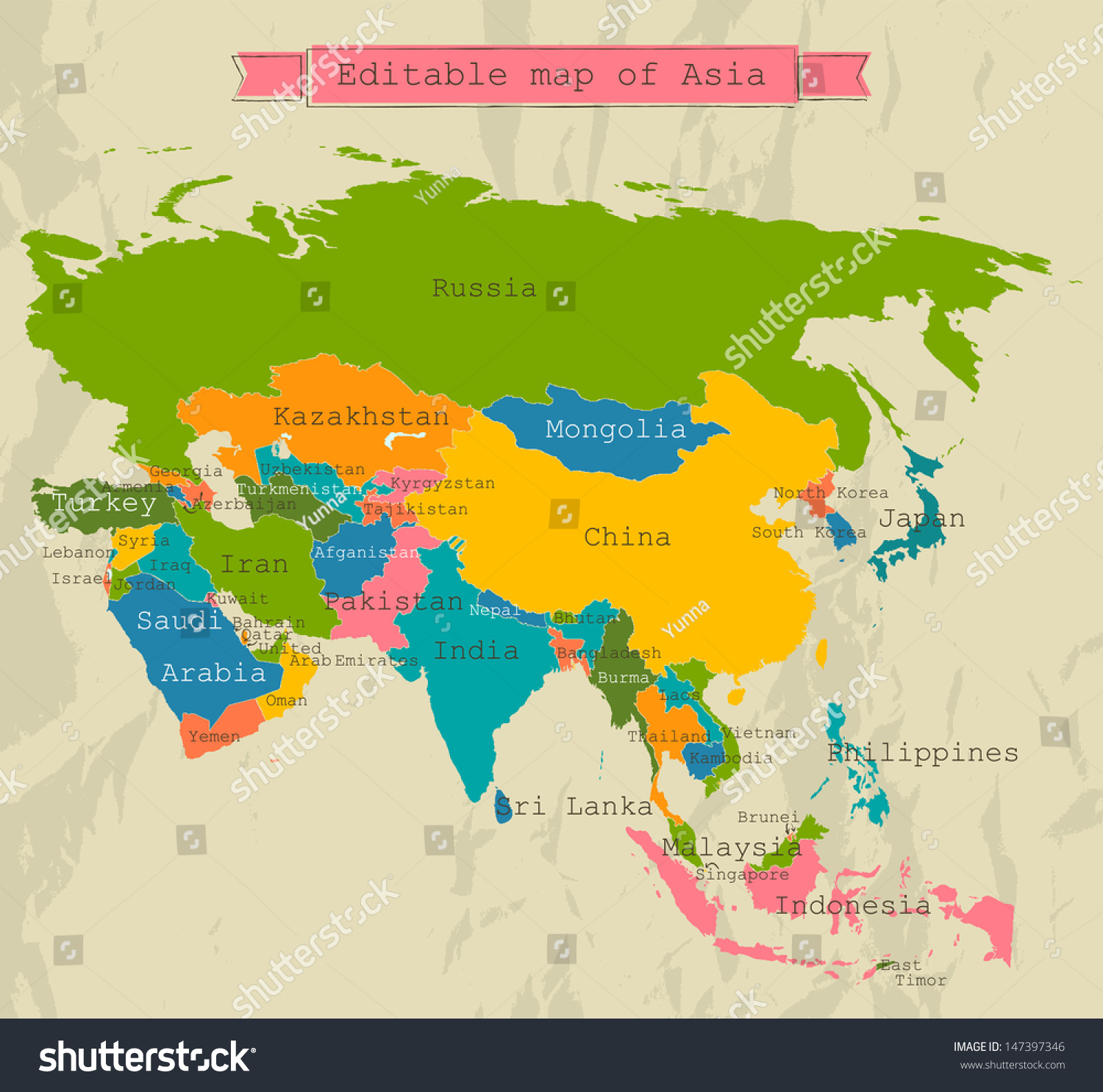 Editable Asia Map All Countries Vector Vector 147397346 – Aisia Map