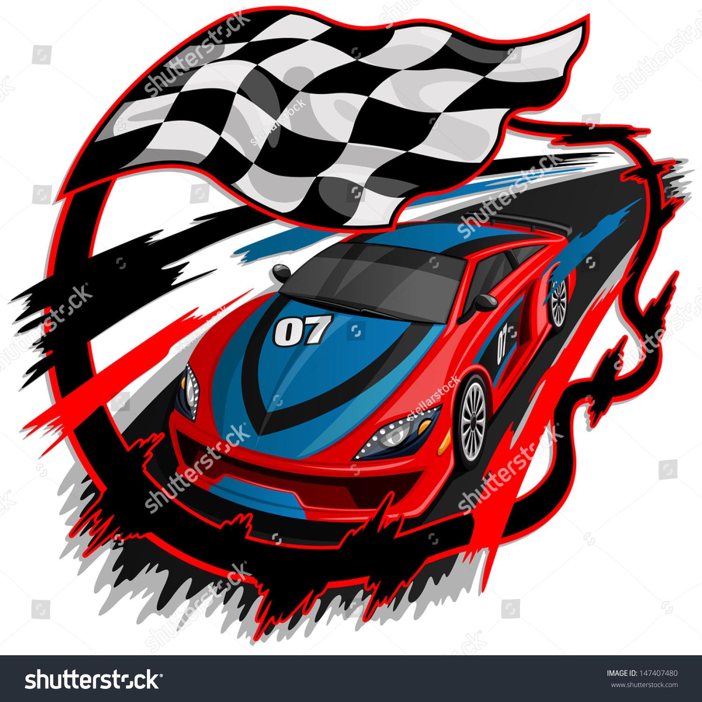 Design car flags - Speeding Racing Car With Checkered Flag Racetrack Design