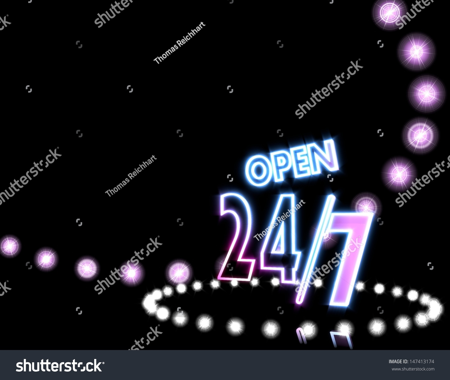 Cool Black Neon Disco 3d Graphic With Glowing Open Sign On