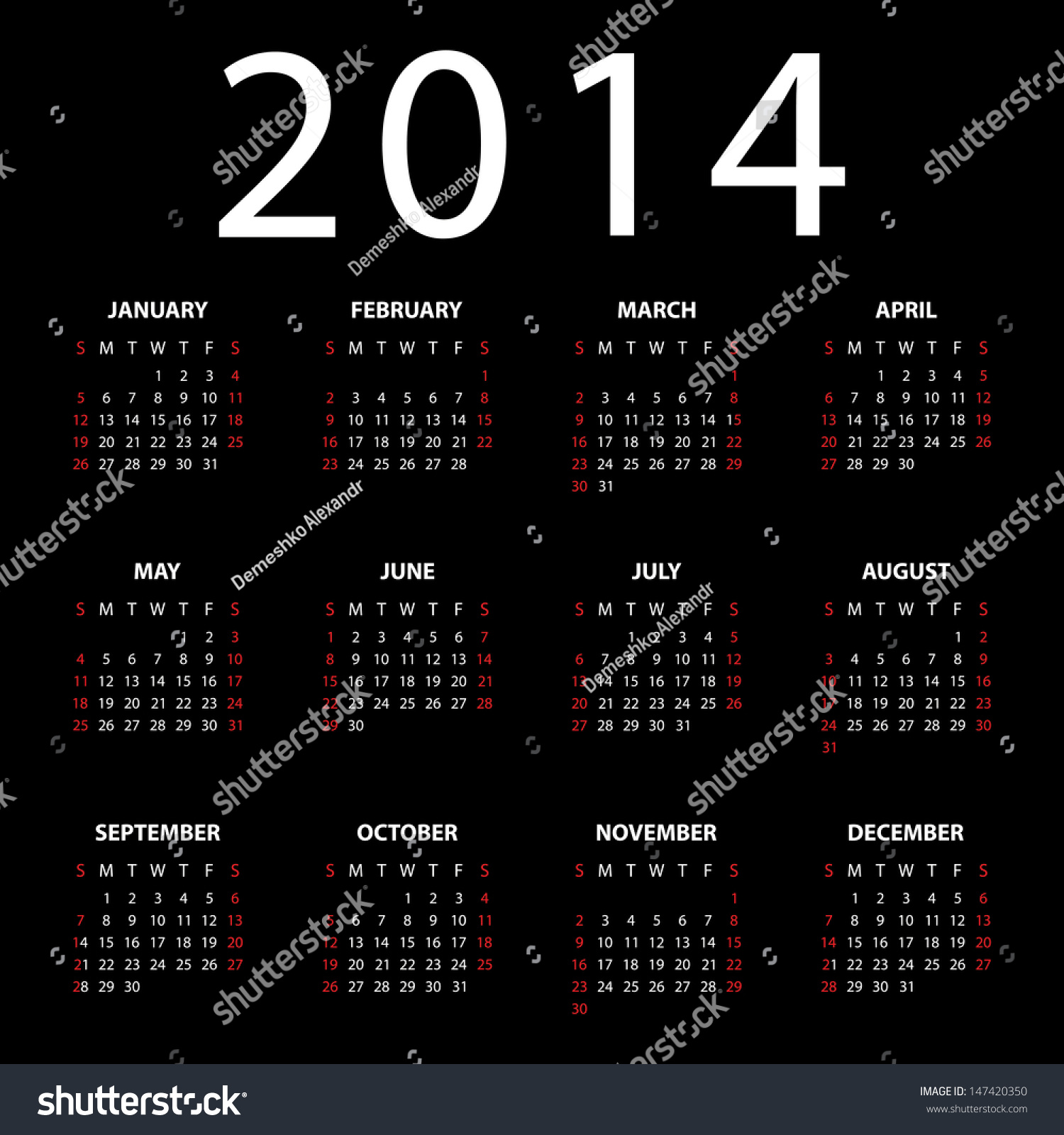 Calendar Background Vector : Calendar for on black background vector eps