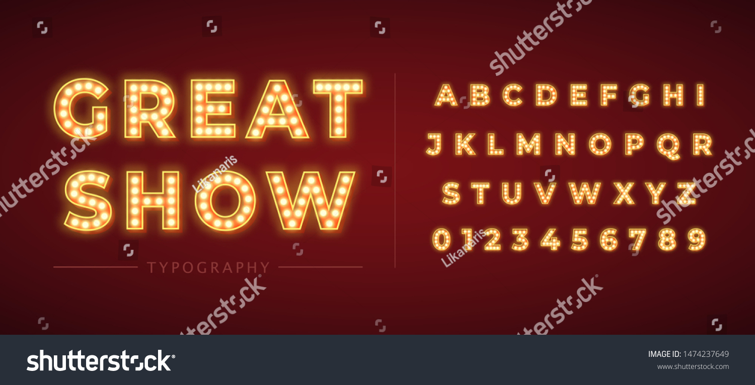 3d light bulb alphabet with red frame isolated on dark red background. Broadway show style retro glowing font. Vector illustration. #1474237649