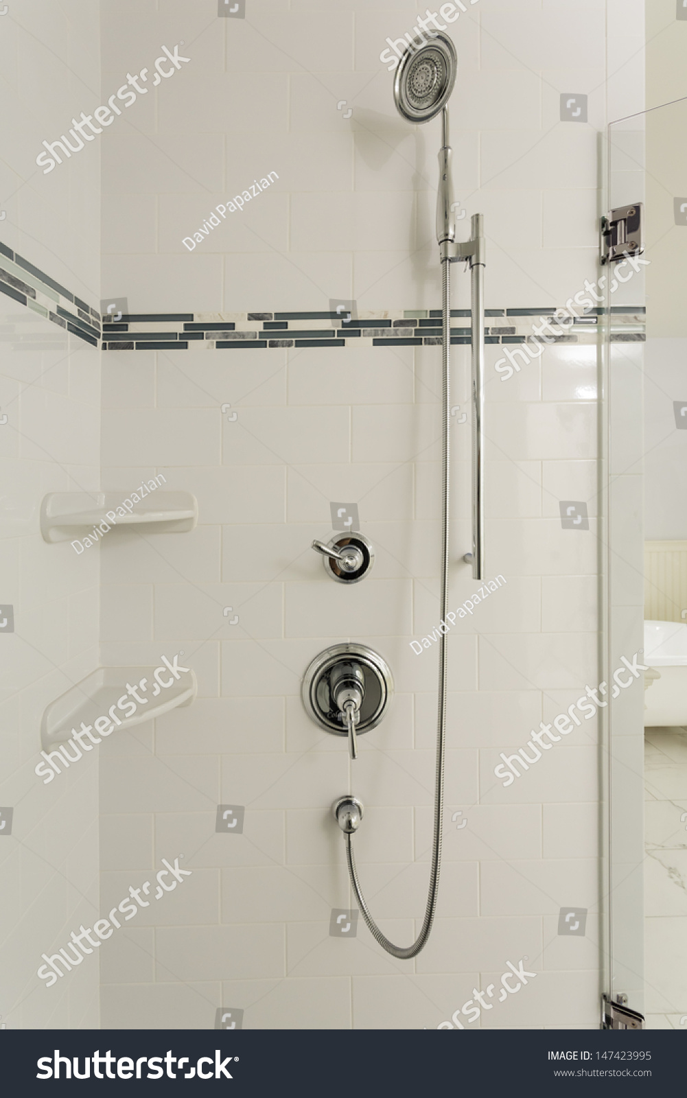 Luxury Large Walk In Showers.Large Shower Upscale Homevertical Shot Luxury Stock Photo