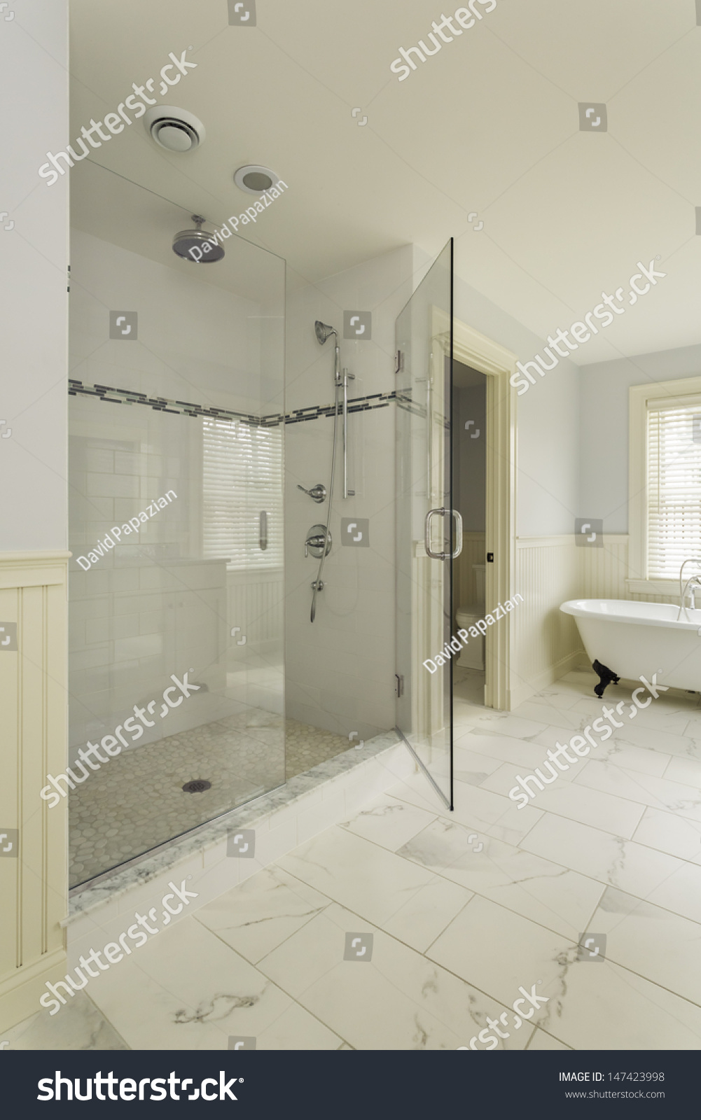 Luxury Large Walk In Showers.Luxury Master Bathroom Enclosed Glass Shower Vertical Stock