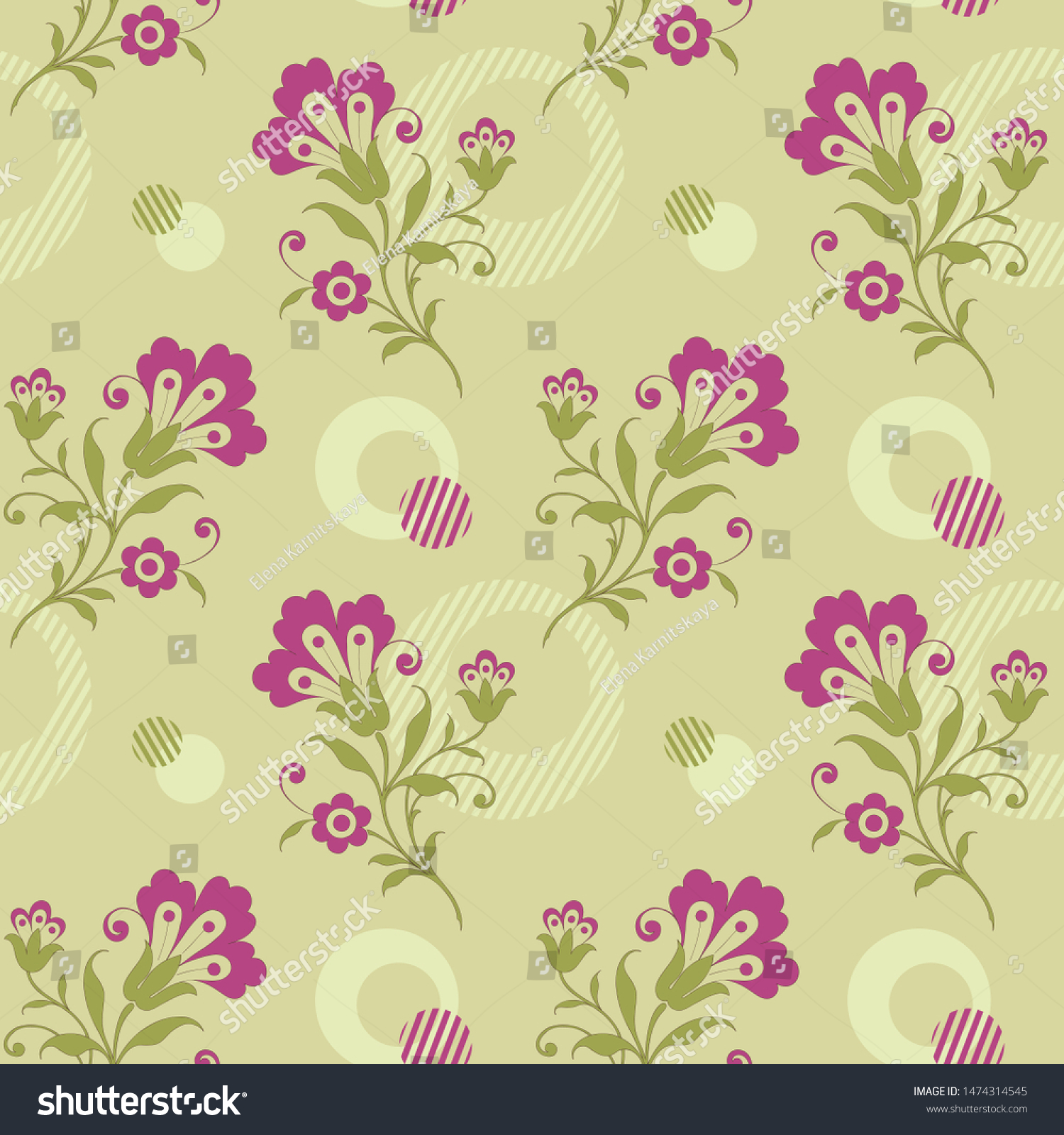 Modern Floral Seamless Pattern Your Design Stock Vector Royalty
