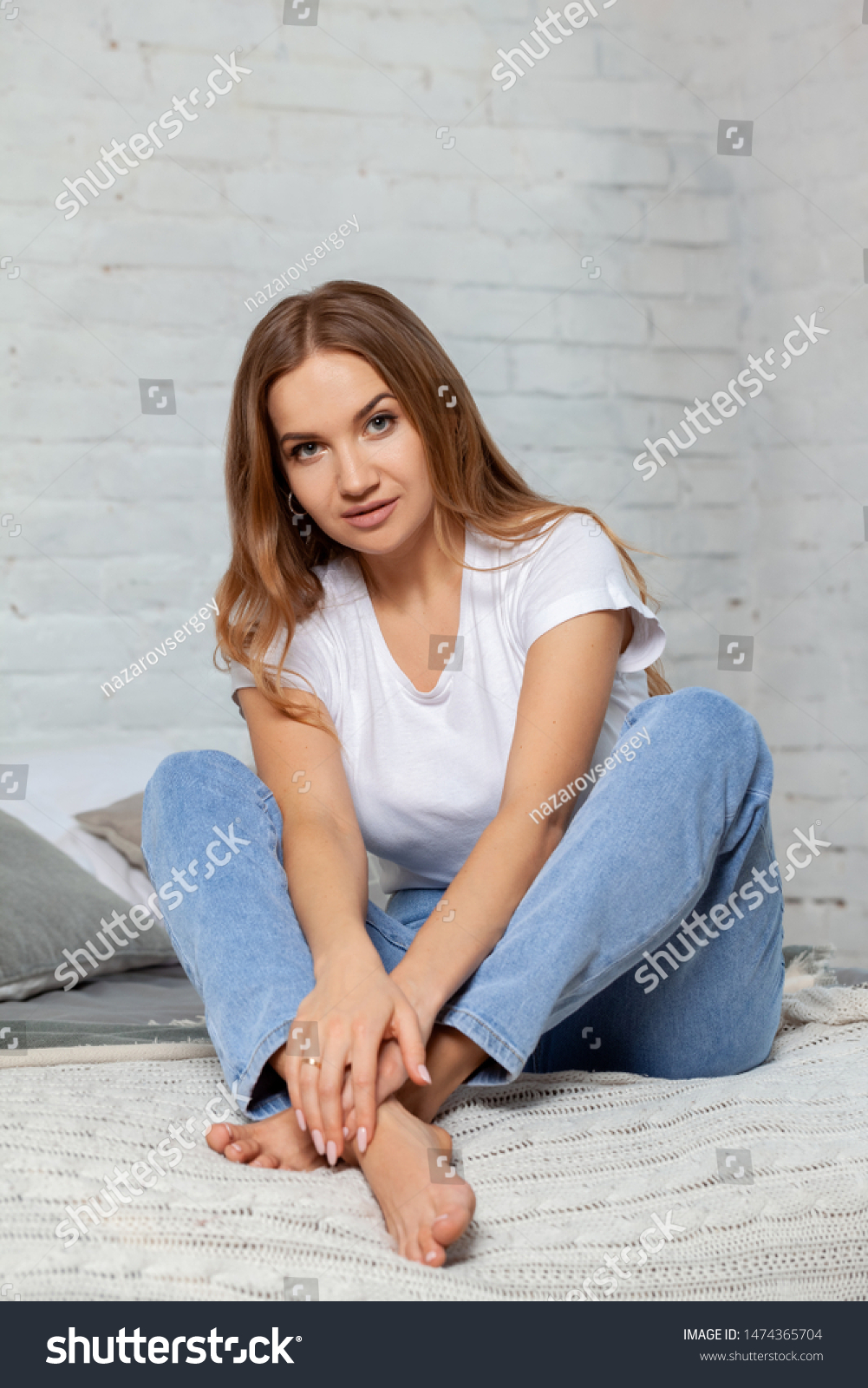 Indoor Portrait Beautiful Blonde Woman Posing Stock Photo Edit Now 1474365704