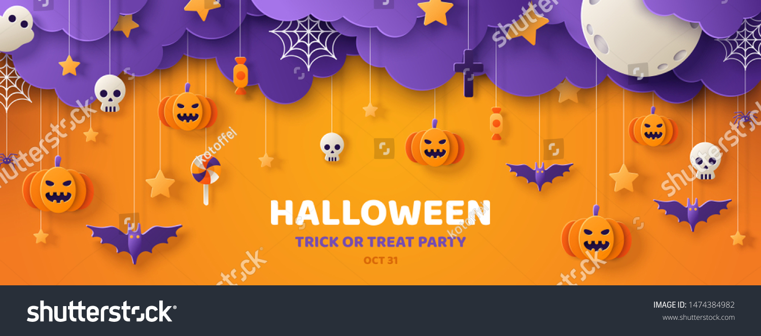 Happy Halloween banner or party invitation background with clouds,bats and pumpkins in paper cut style. Vector illustration. Full moon in the sky, spiders web and stars. Place for text #1474384982