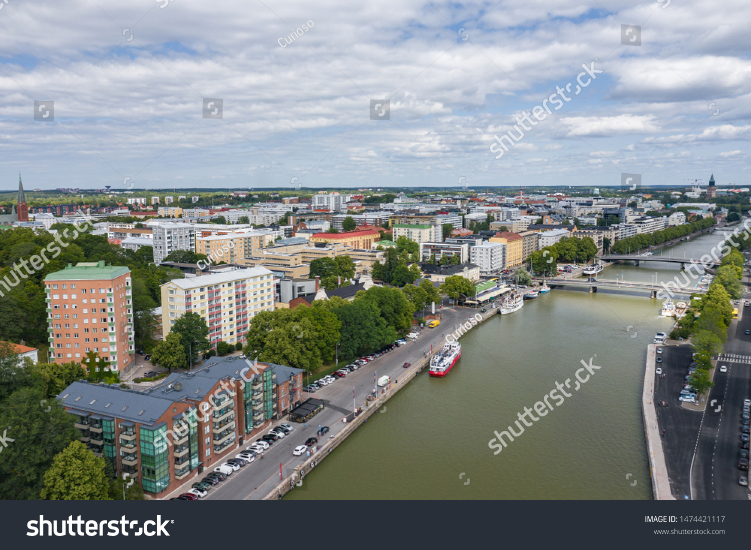 TURKU, FINLAND - AUGUST 02,2019: Aerial view of city of Turku. Photo made by drone from above. Finland. Europe.  #1474421117
