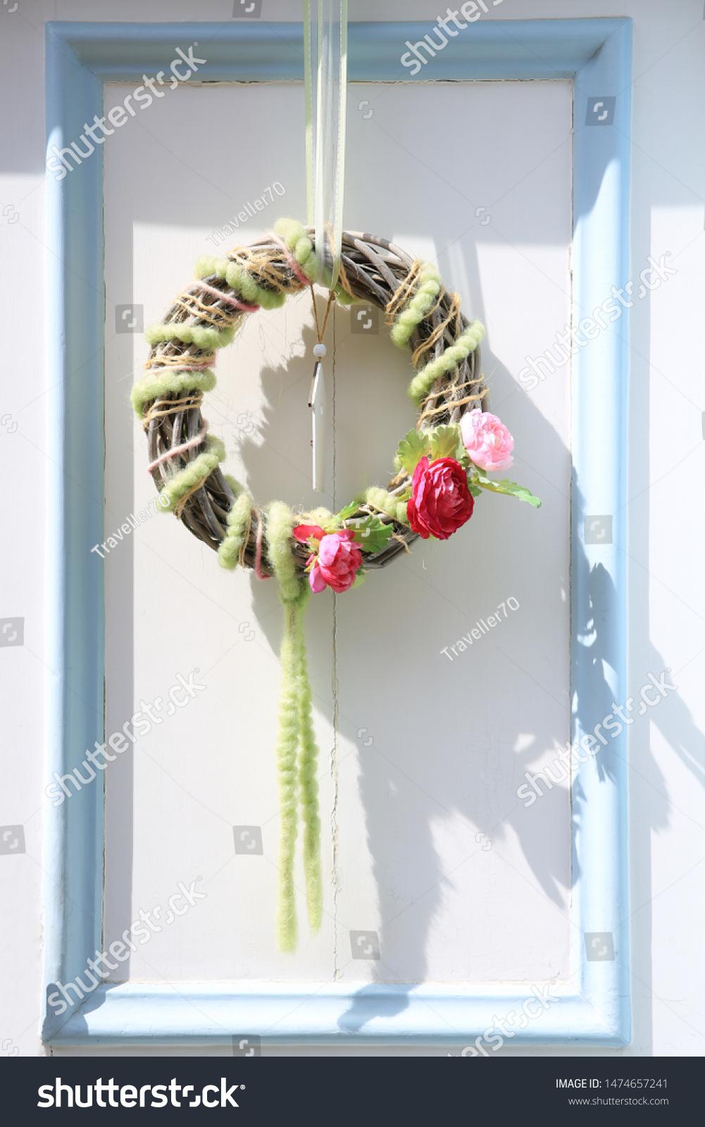 Decorative Wreath Front Door 08082019 Stock Photo Edit Now 1474657241