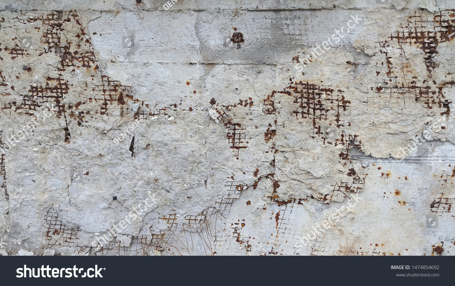 Concrete surface. Concrete. Destroyed concrete surface reinforced mesh. Vintage abstract background. Old destroyed concrete surface #1474854692