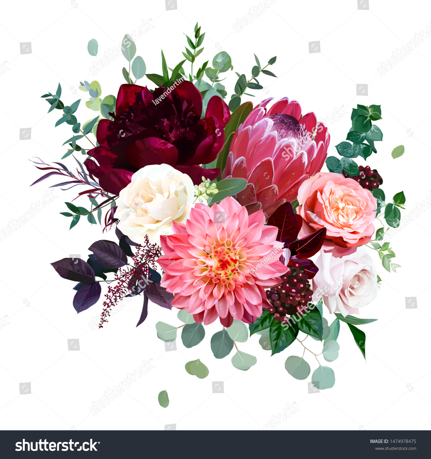 Luxury Fall Flowers Vector Bouquet Protea Stock Vector Royalty Free 1474978475