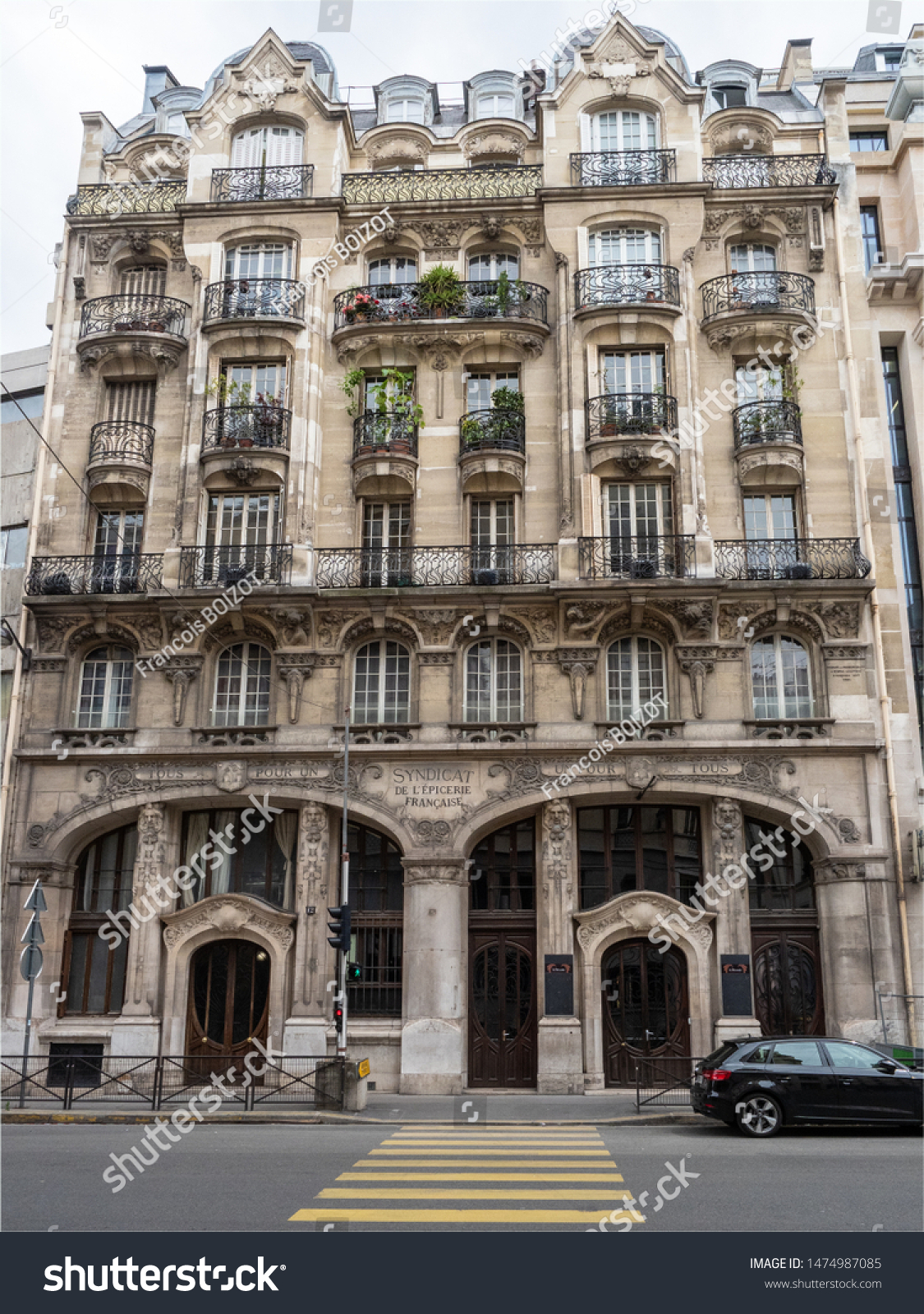 Rue De La Deco art deco building rue du renard stock photo (edit now