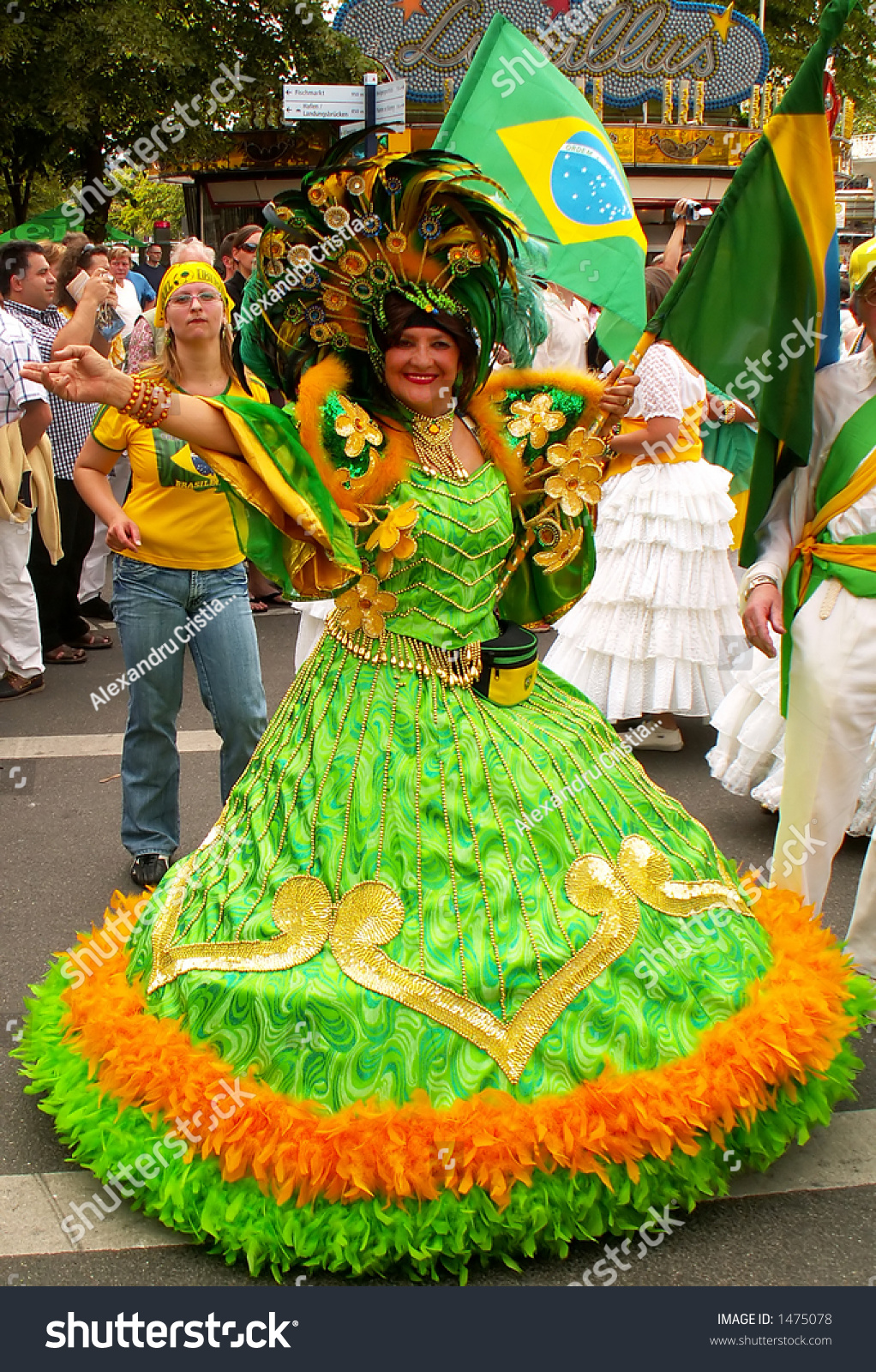 Brazilian Woman Costumed Traditional Green Dress Stock ...