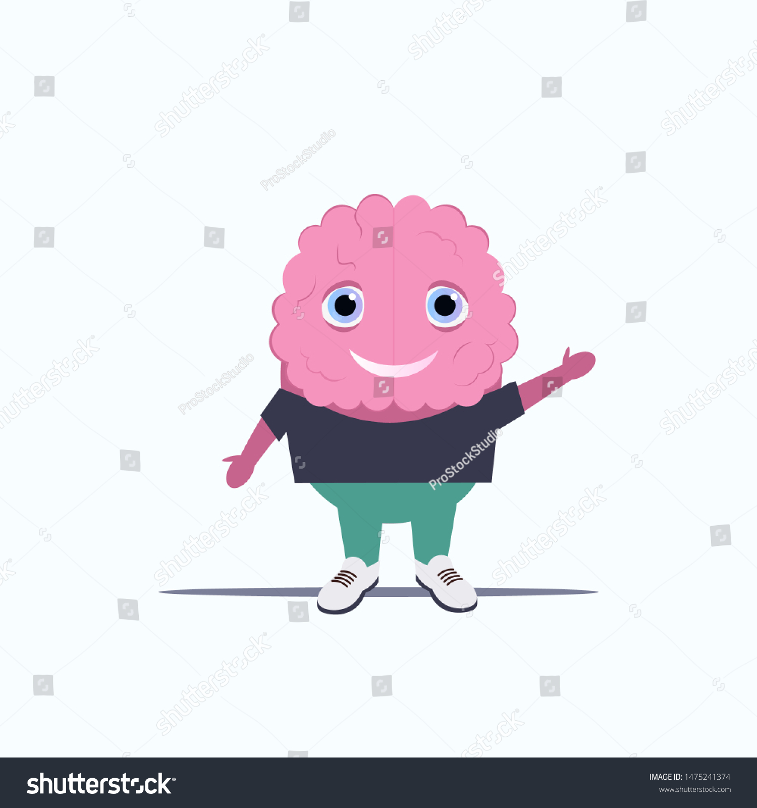 Human Brain Pink Cartoon Character Standing Stock Vector Royalty Free 1475241374