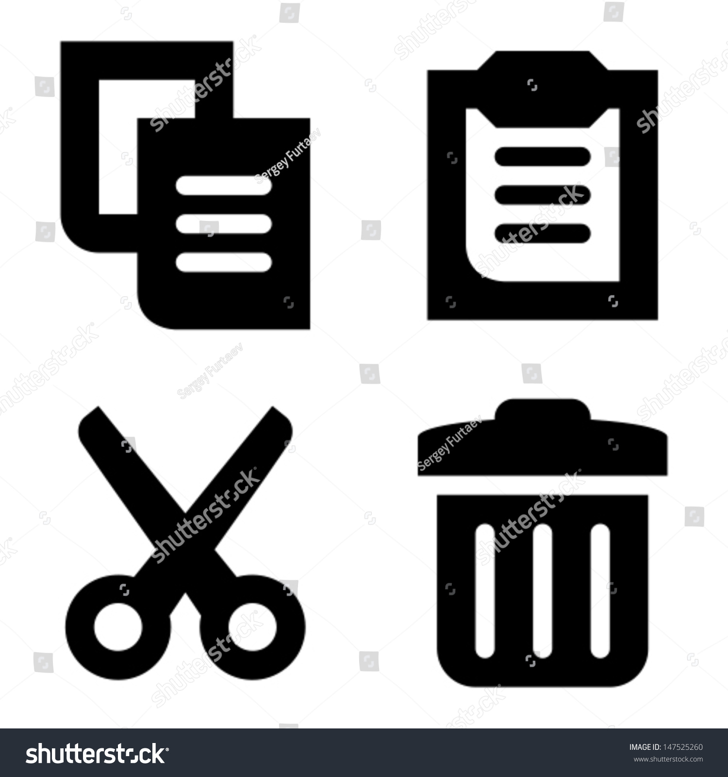 Copy Paste Cut Delete Icons Stock Vector 147525260 - Shutterstock