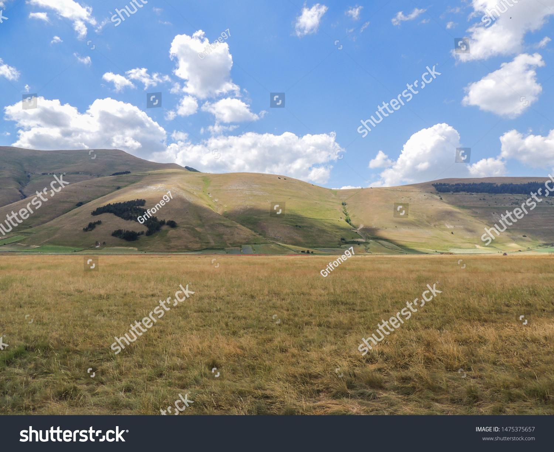 Landscape of the cultivated fields of Castelluccio di Norcia in the park of Monti Sibillini, Italy.