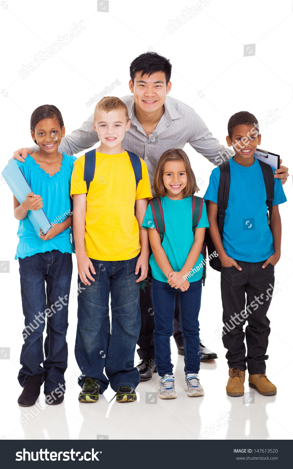 Group Primary School Kids Teacher Isolated Stock Photo (Royalty Free ...