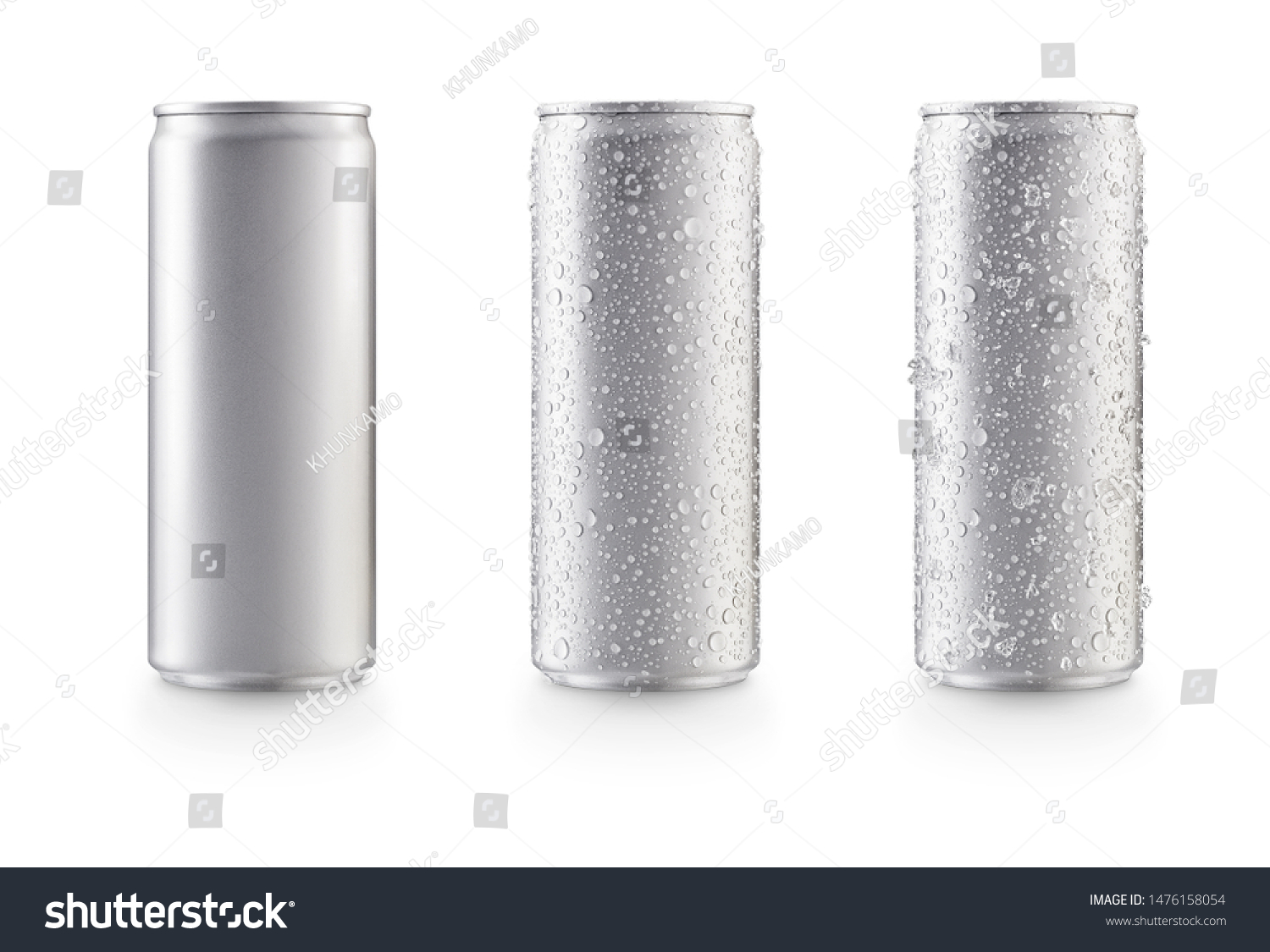 Aluminum slim cans in silver isolated on white background,canned with water drops,canned with water drops and ice #1476158054