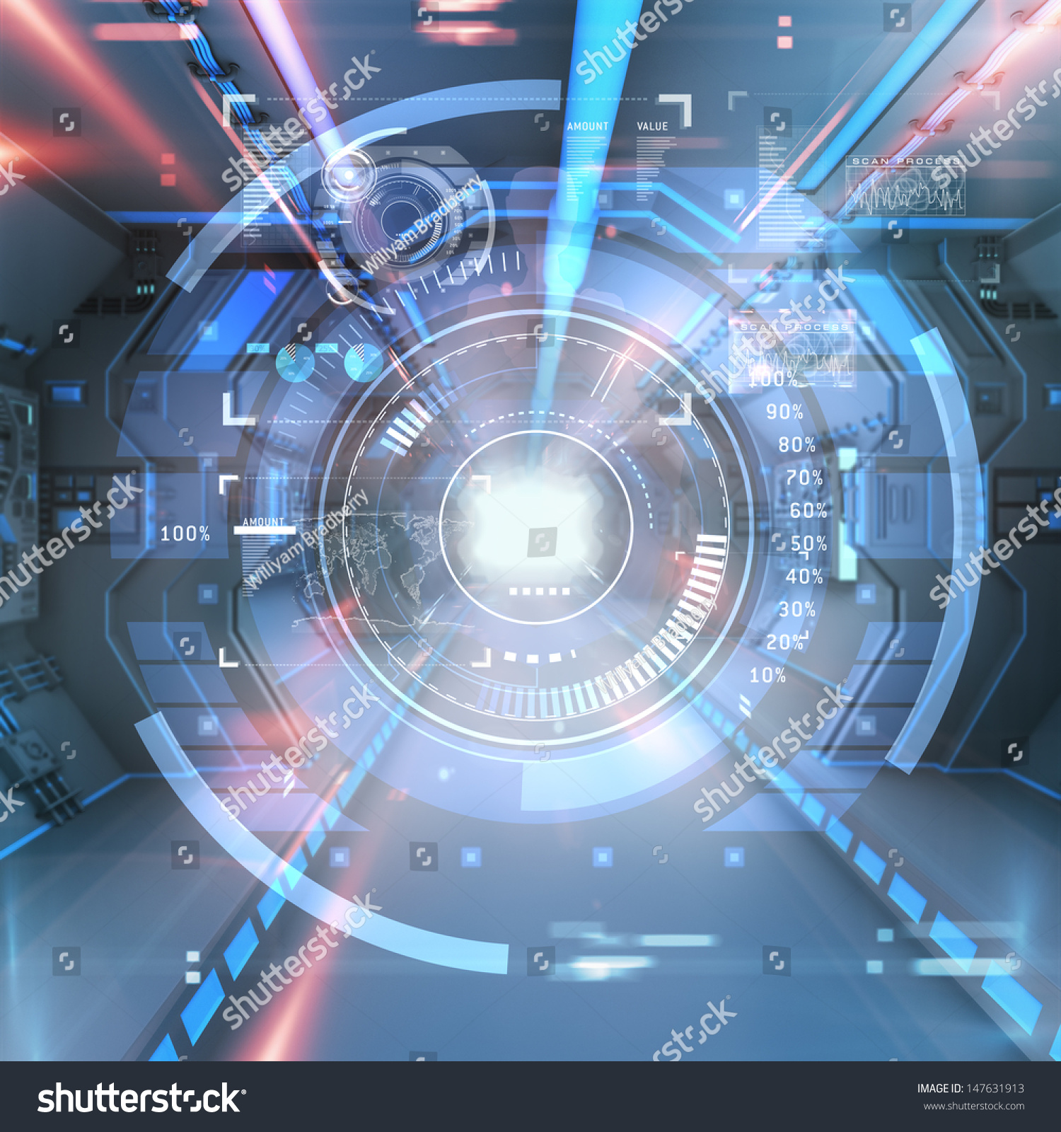 Futuristic Interior View With Infographic Elements ...
