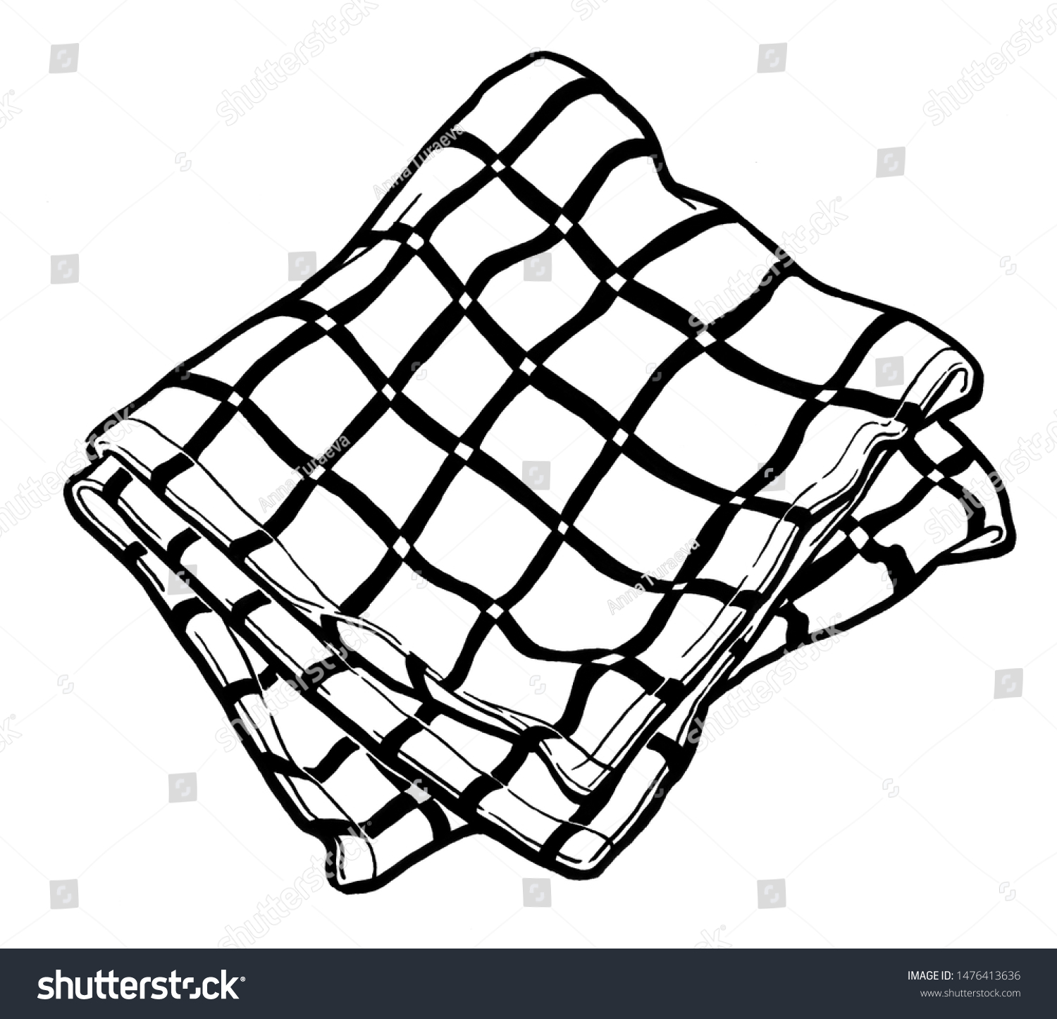 Striped Kitchen Towel Watercolor Hand Drawing Stock Illustration 1476413636