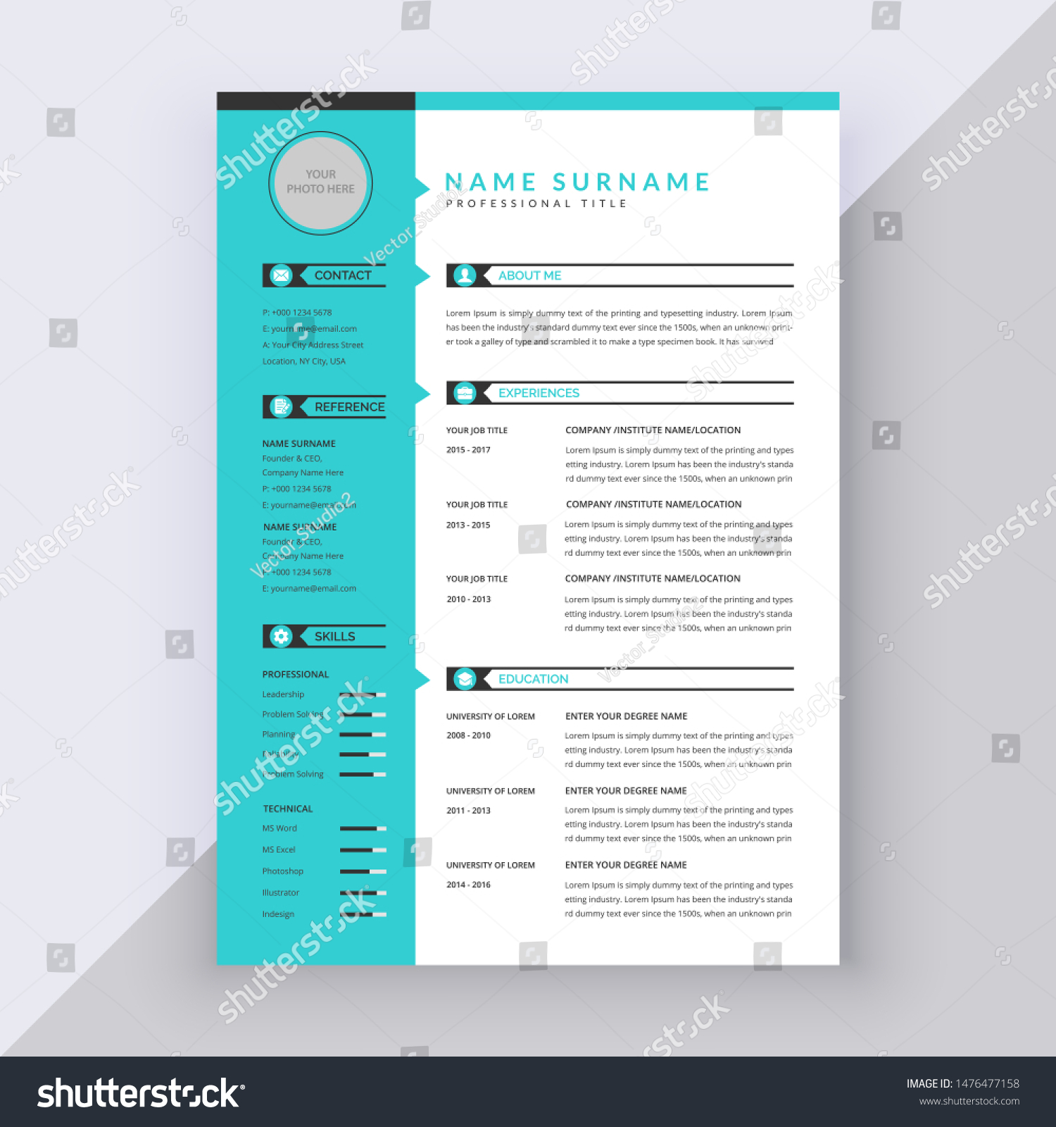 Creative Minimal Clean Blue Cv Resume Stock Vector Royalty Free 1476477158