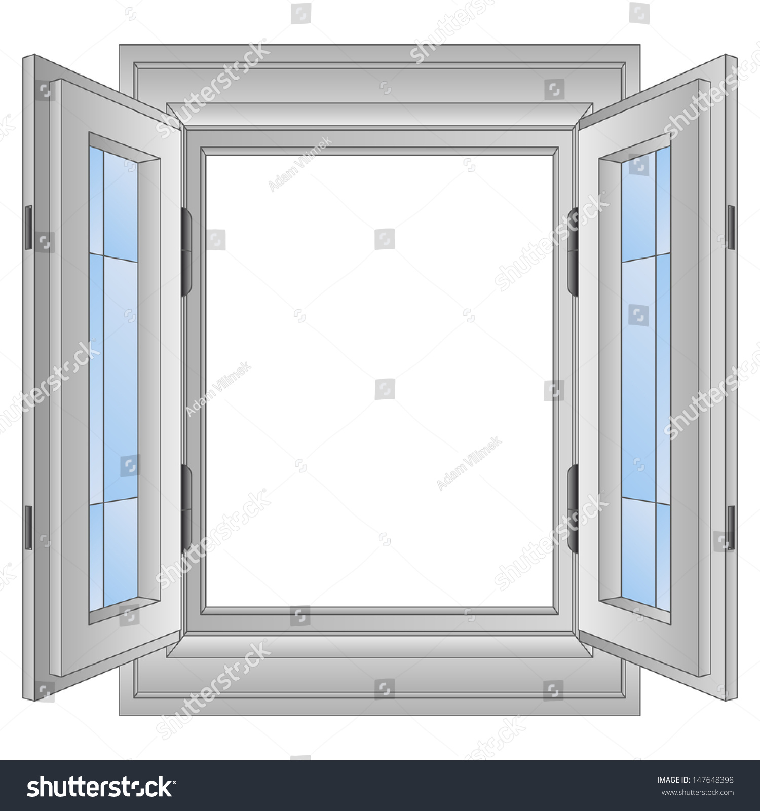 isolated open aluminium window frame vector illustration