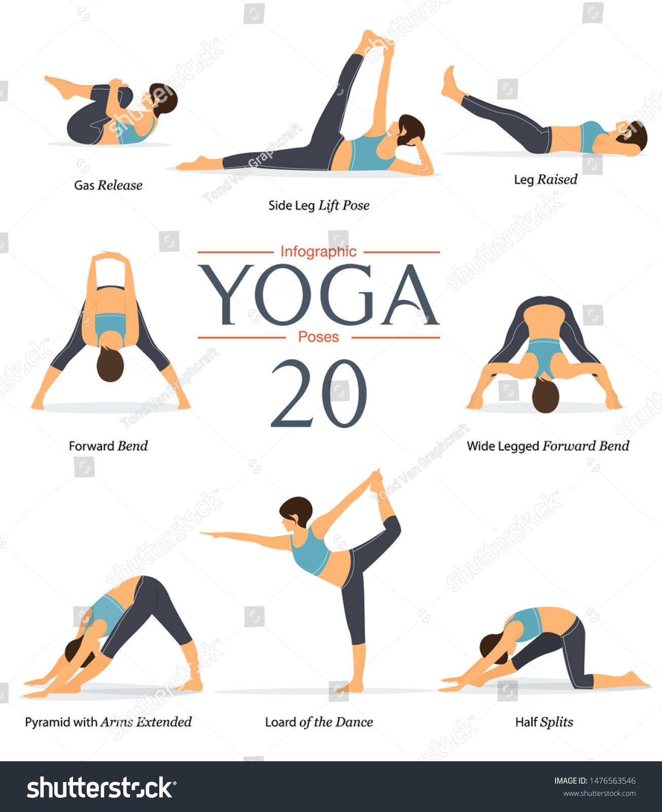 Set 41 Yoga Poses Flat Design Stock Vector (Royalty Free) 41