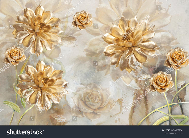 3d花の壁紙 金色の花の美しいイラスト イラスト のイラスト素材