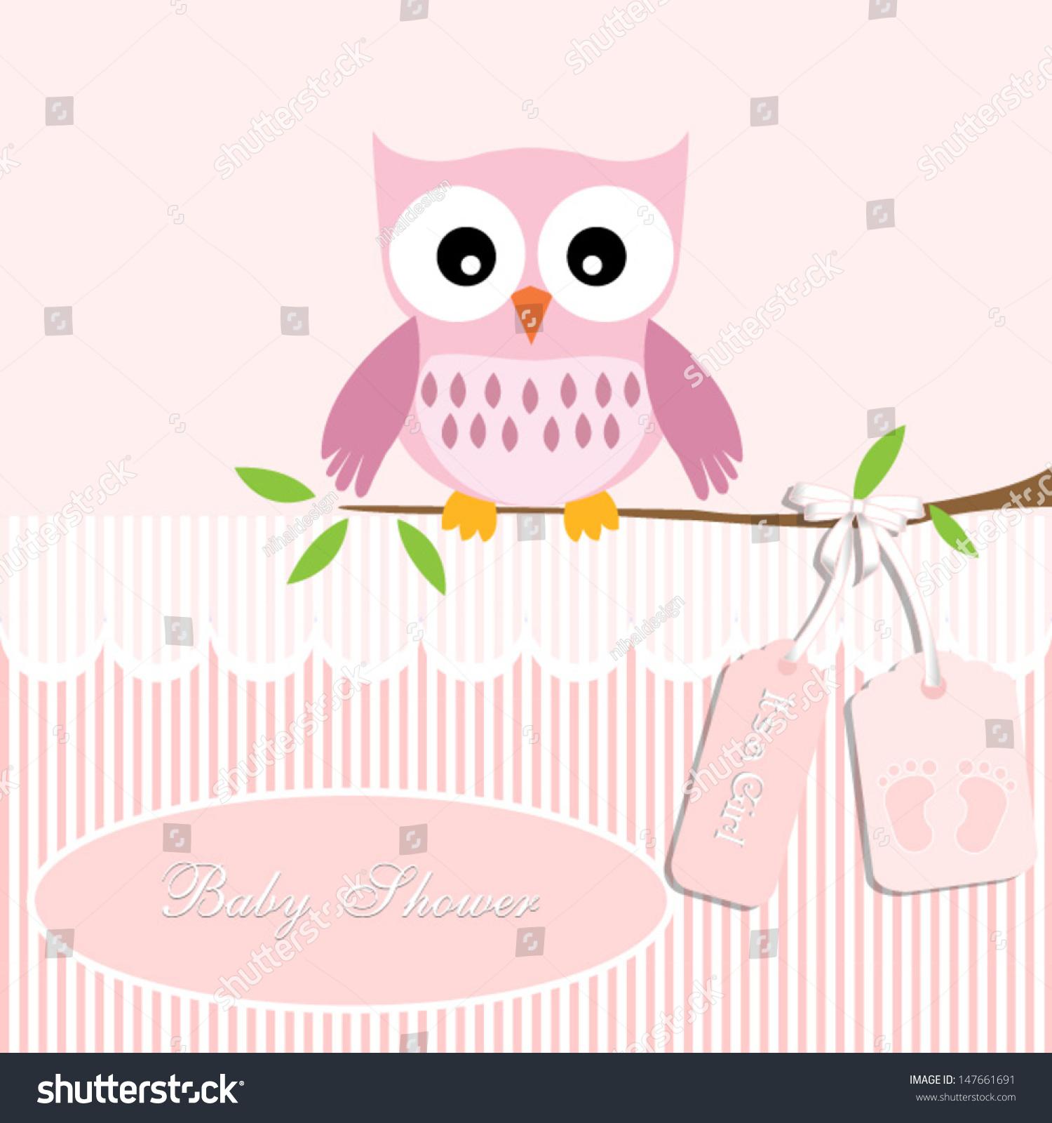 Baby Shower Card Baby Girlowl Stripe Stock Vector ...