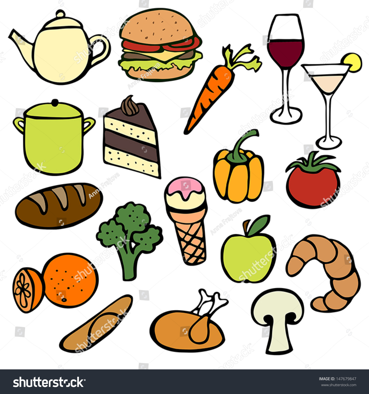 Kitchen Tools Drawings collection cute drawings food kitchen tools stock vector 147679847