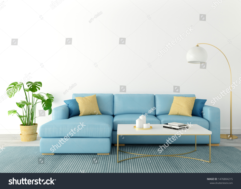 Scandinavian Style Living Room Blue Sofa Stock Illustration 1476804215